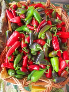 spicy peppers at the farmers market