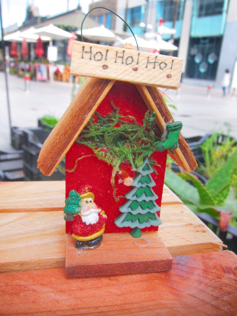 red Christmas bird house