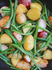 Roasted Red Potatoes and Green Beans in Sautéed Garlic