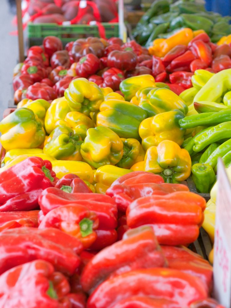 sweet peppers at the farmers market