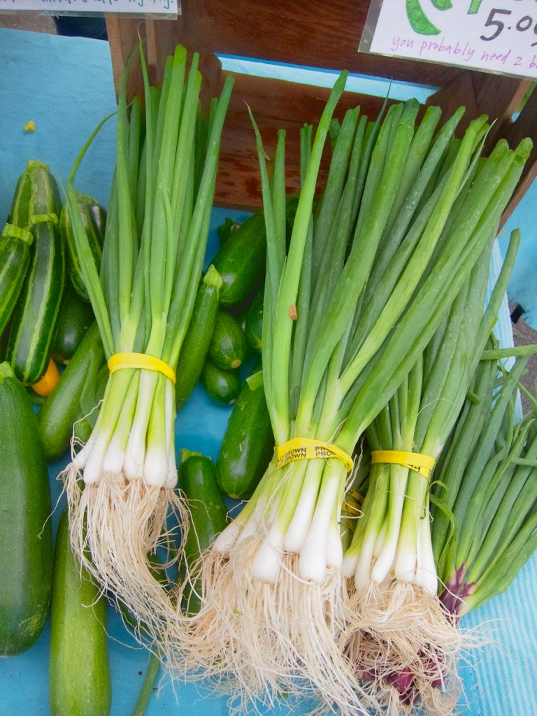 green onions at farmers market