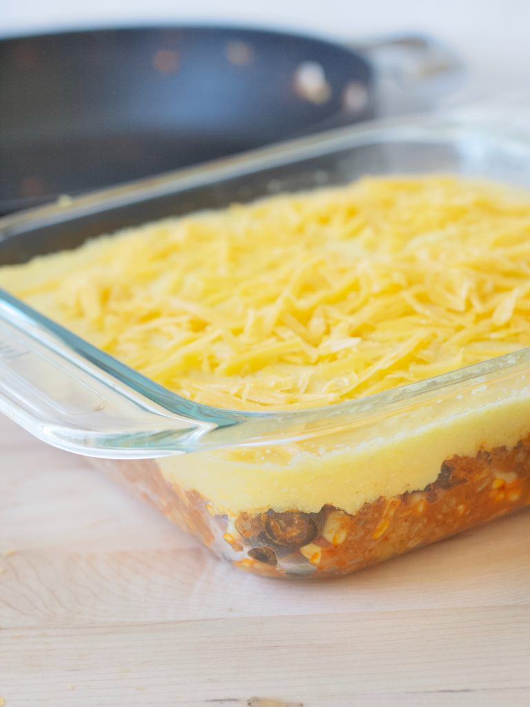 Tamale Pie With Fresh Corn and Buttery Cornmeal Topping