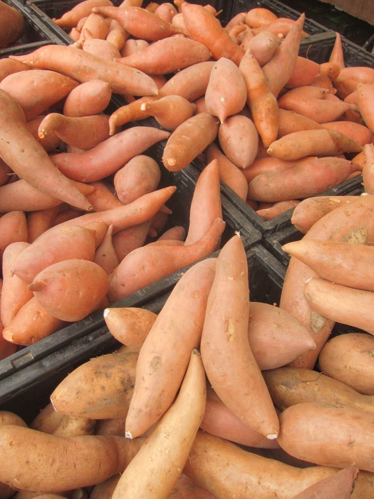 sweet potatoes at the farmers market