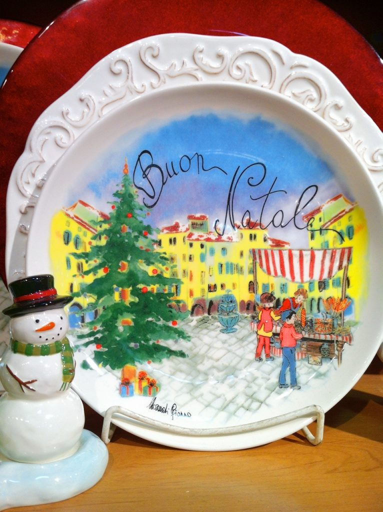 Christmas plate with farmers market picture