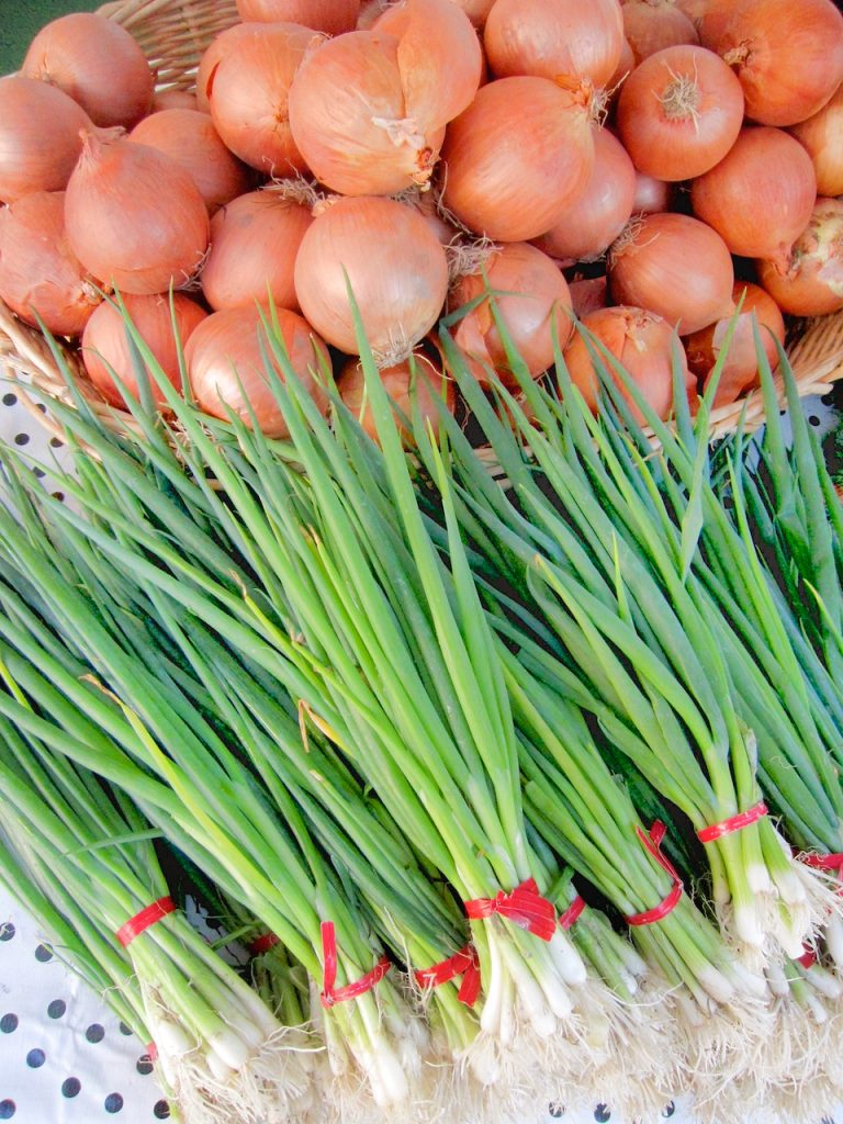 green onions at the farmers market