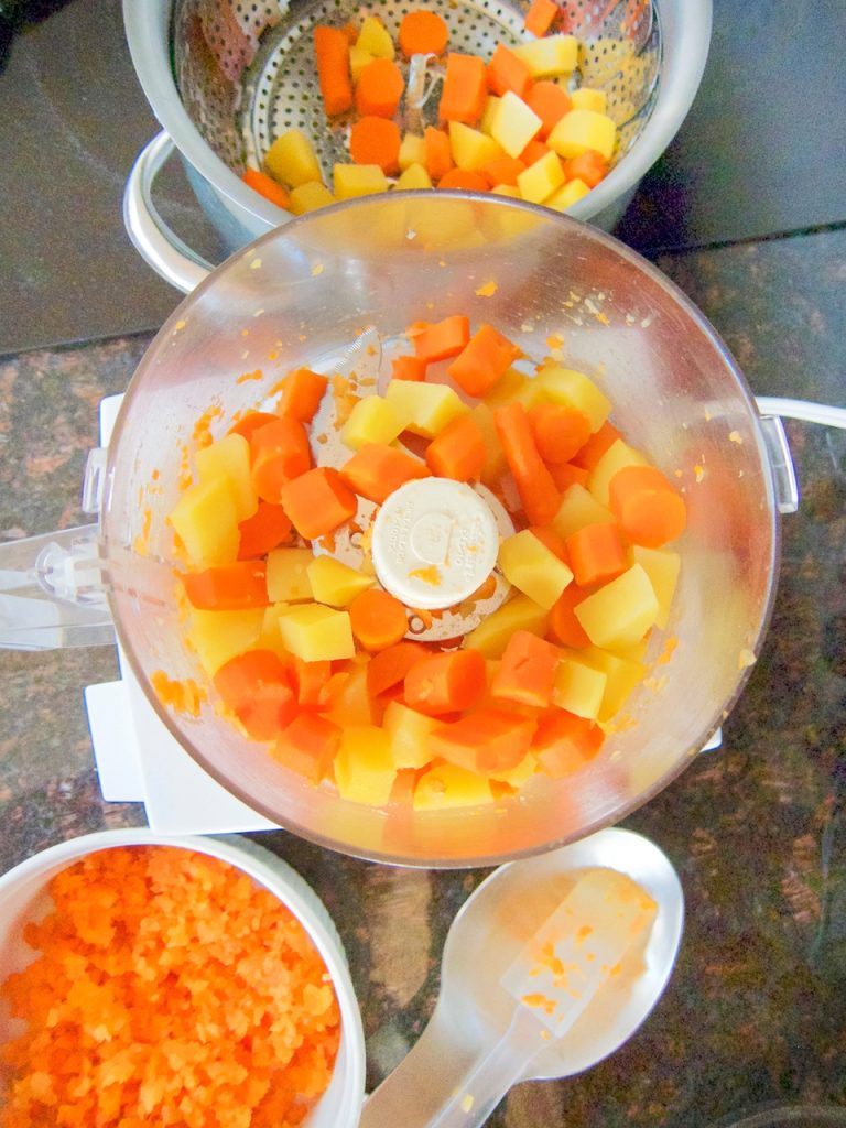 preparing carrots and rutabaga