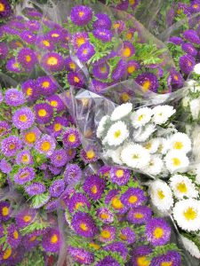 purple flowers at farmers market