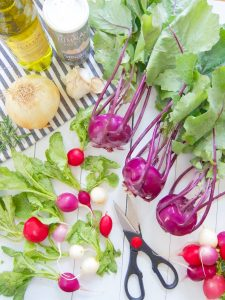 ingredients for Roasted Kohlrabi and Radishes