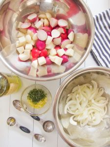 preparing Roasted Kohlrabi and Radishes