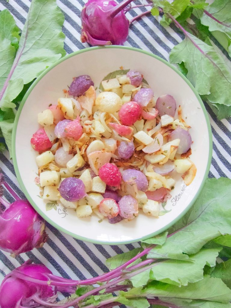 Roasted Kohlrabi and Radishes