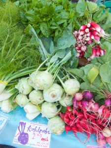 kohlrabi and radishes at the farmers market
