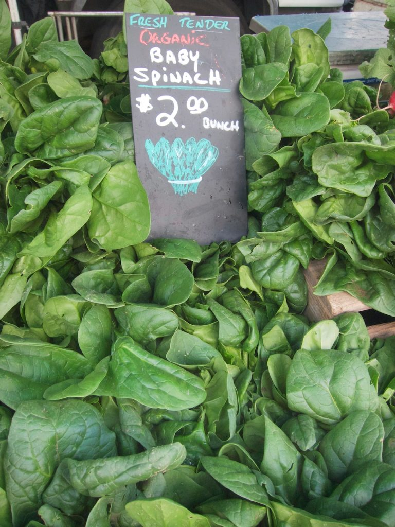 spinach at the farmers market