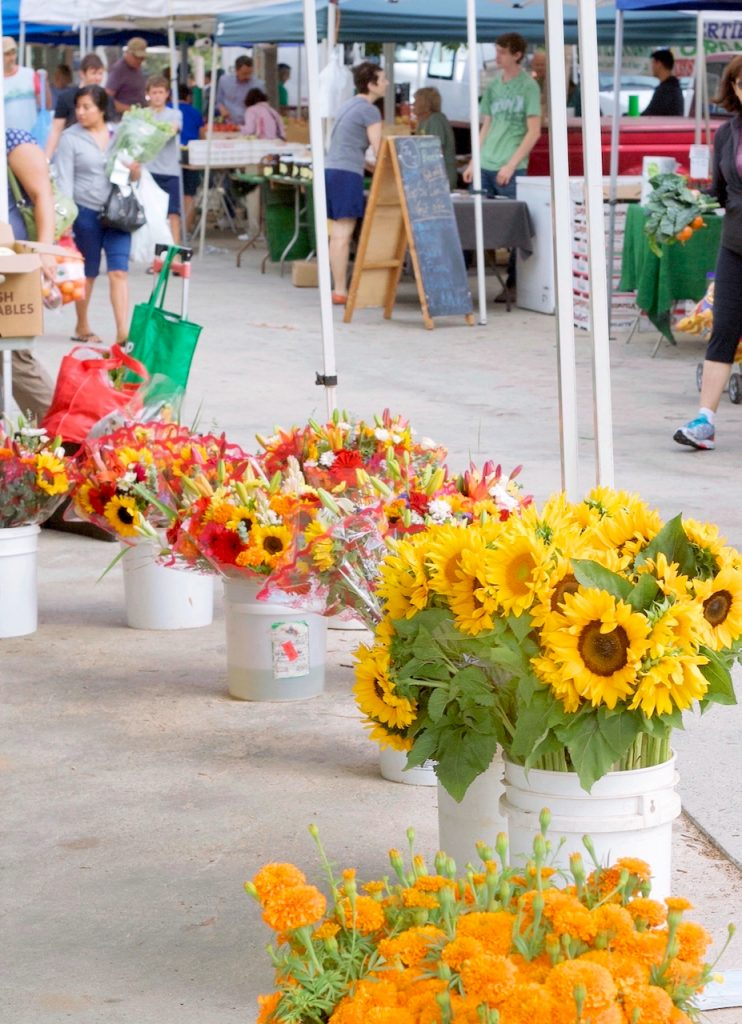flower stall at the farmers market