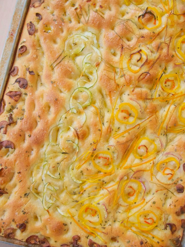 baked decorated Focaccia Bread