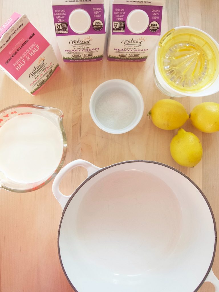 ingredients for homemade cream cheese
