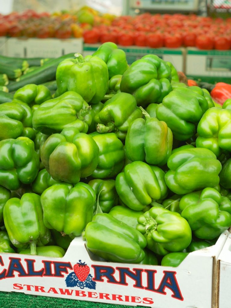 green peppers at the farmers market