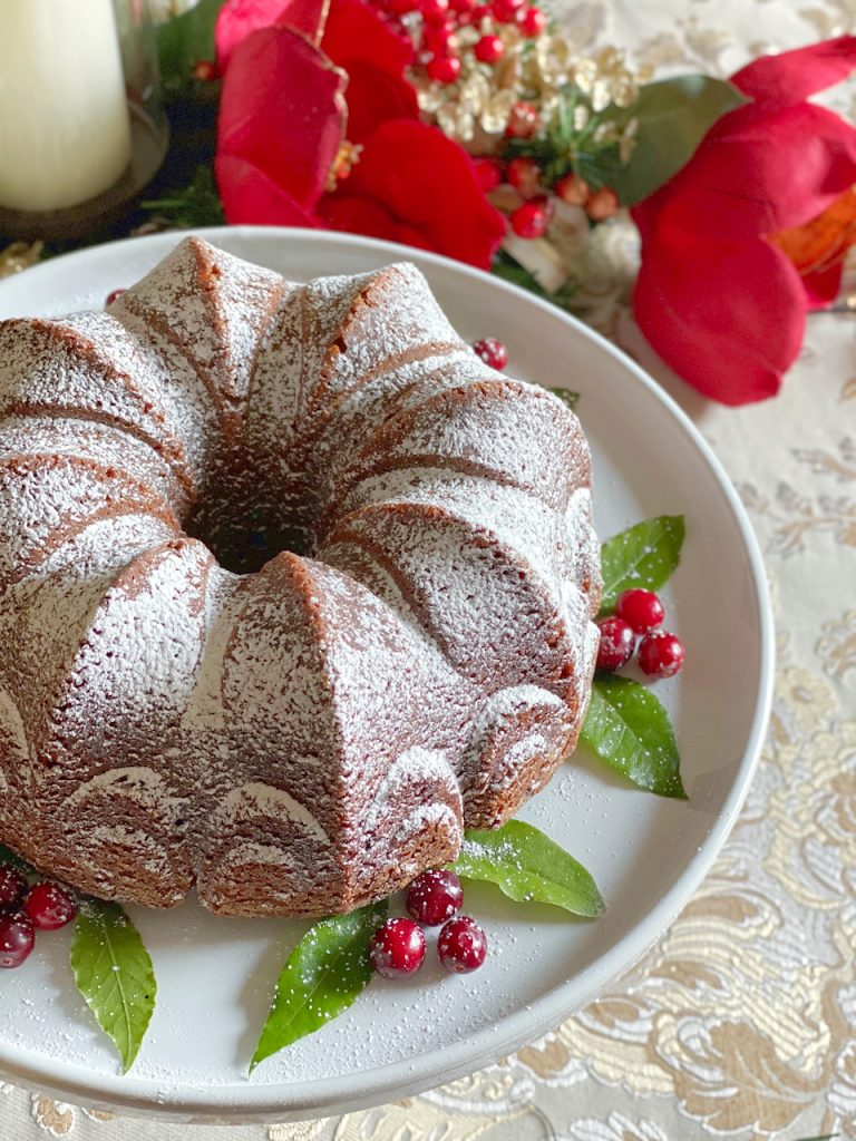 top view of Christmas Gingerbread Cake