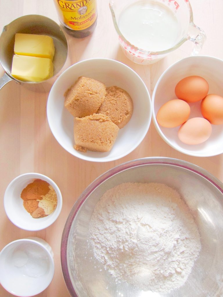 ingredients for Christmas Gingerbread Cake