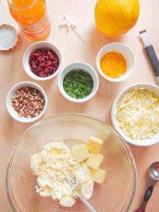 ingredients for Cranberry, Pecan and Orange Cheese Spread