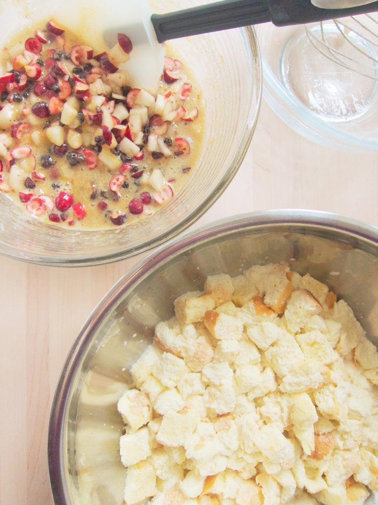 preparing Cranberry and Pear Bread Pudding